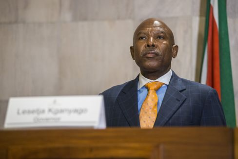 Lesetja Kganyago pauses during a news conference in Pretoria, on Jan. 28.