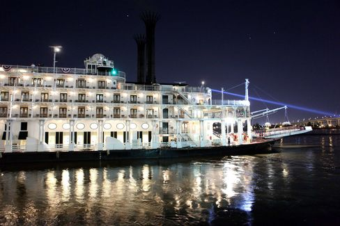The American Queen departs from New Orleans in April 2012.
