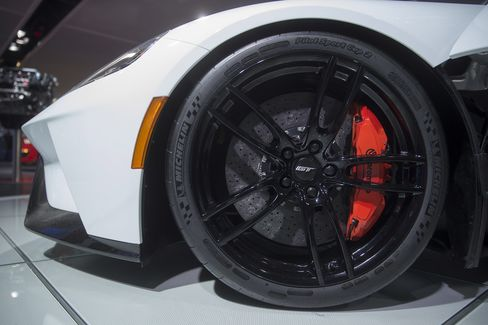 The wheel of a Ford Motor Co. 2017 GT sits on display during the 2016 North American International Auto Show (NAIAS) in Detroit, Michigan, U.S., on Tuesday, Jan. 12, 2016. Last year's auto show featured 55 vehicle introductions, a majority of which were worldwide debuts, and was attended by over 5,000 journalists from 60 countries.
