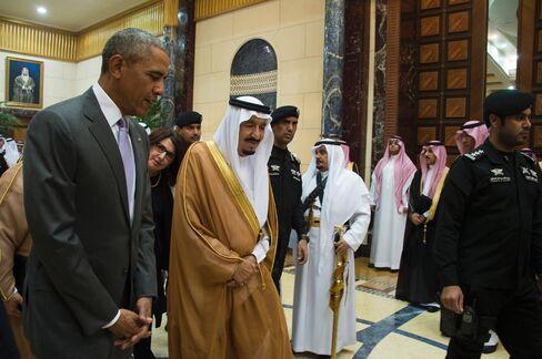 Barack Obama and King Salman in Riyadh on April 20.