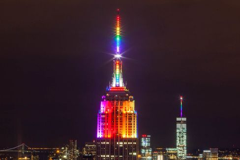 The Empire State Building and One World Trade both glowedin rainbow colors on June 28.
