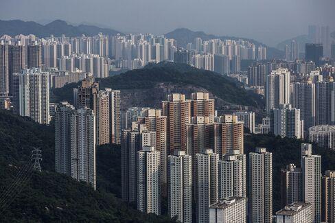 香港の住居用ビル群