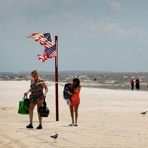 Beach goers in Biloxi