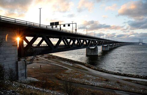 The Oresund Bridge between Sweden and Denmark.