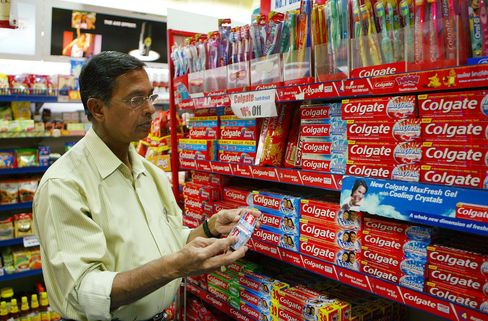 A Customer Browses Colgate Toothpastes