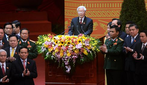 Newly re-elected Vietnam Communist Party Secretary General Nguyen Phu Trong.