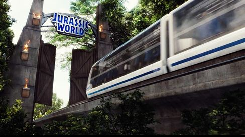 This sleek, high-speed monorail takes visitors on round-trip tours of Jurassic World. Source: Universal Pictures' Jurassic World Featurette, © Universal Pictures/YouTube via Bloomberg