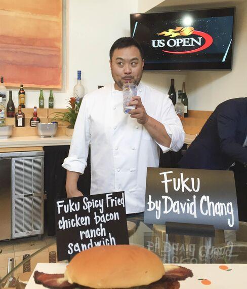 David Chang sips aHoney Deuce,the US Open's signature cocktail.