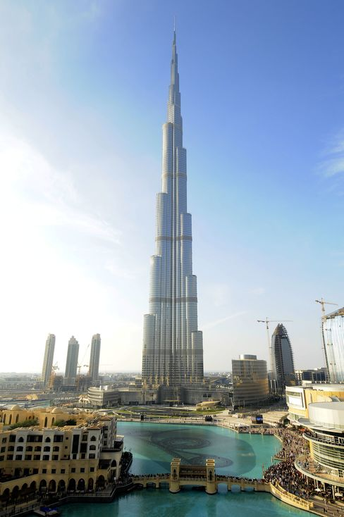 The 200-story Burj Khalifa building stands in Dubai