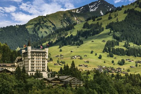 Beautiful views of the Swiss Alps can be seen at Gstaad Palace.