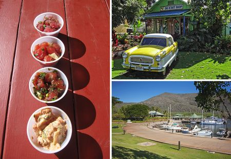 (Clockwise from left) Four kinds of poke are on offer at the Lanai Poke Market; the Dis N Dat Shop, with a vintage Nash Metropolitan out front; the Manele small-boat harbor.