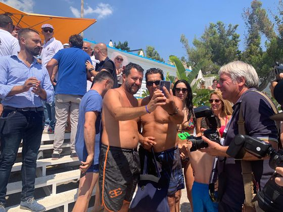 Beach Boy Salvini Bids for Full Power While Italy's on Vacation