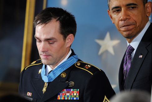 Former Army Sgt. Clinton Romesha & U.S. President Barack Obama
