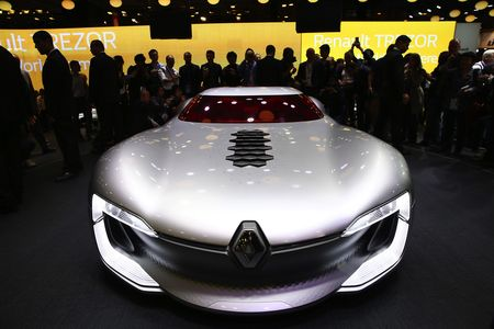 A Renault Trezor concept is unveiled on the first day of the Paris Motor Show.
