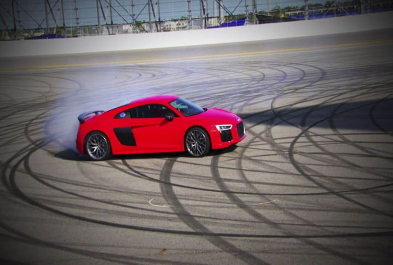 Audi On The Track Driving The Supercar At Daytona