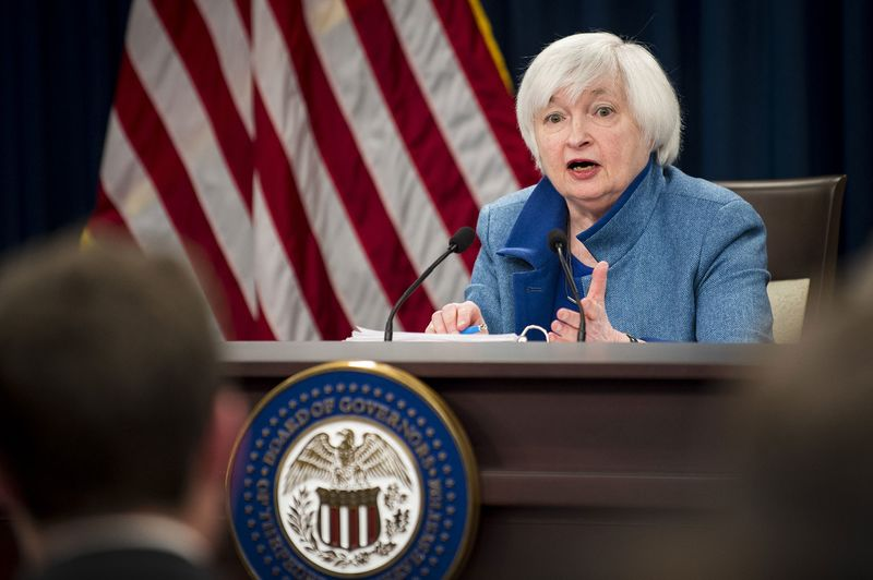 "Janet Yellen, chair of the U.S. Federal Reserve, speaks during a news conference following a Federal Open Market Committee (FOMC) meeting in Washington, D.C., U.S., on Wednesday, Dec. 14, 2016. Federal Reserve officials raised interest rates for the first time this year and forecast a steeper path for borrowing costs in 2017, saying inflation expectations have increased ""considerably"" and suggesting the labor market is tightening. Photographer: Pete Marovich/Bloomberg"