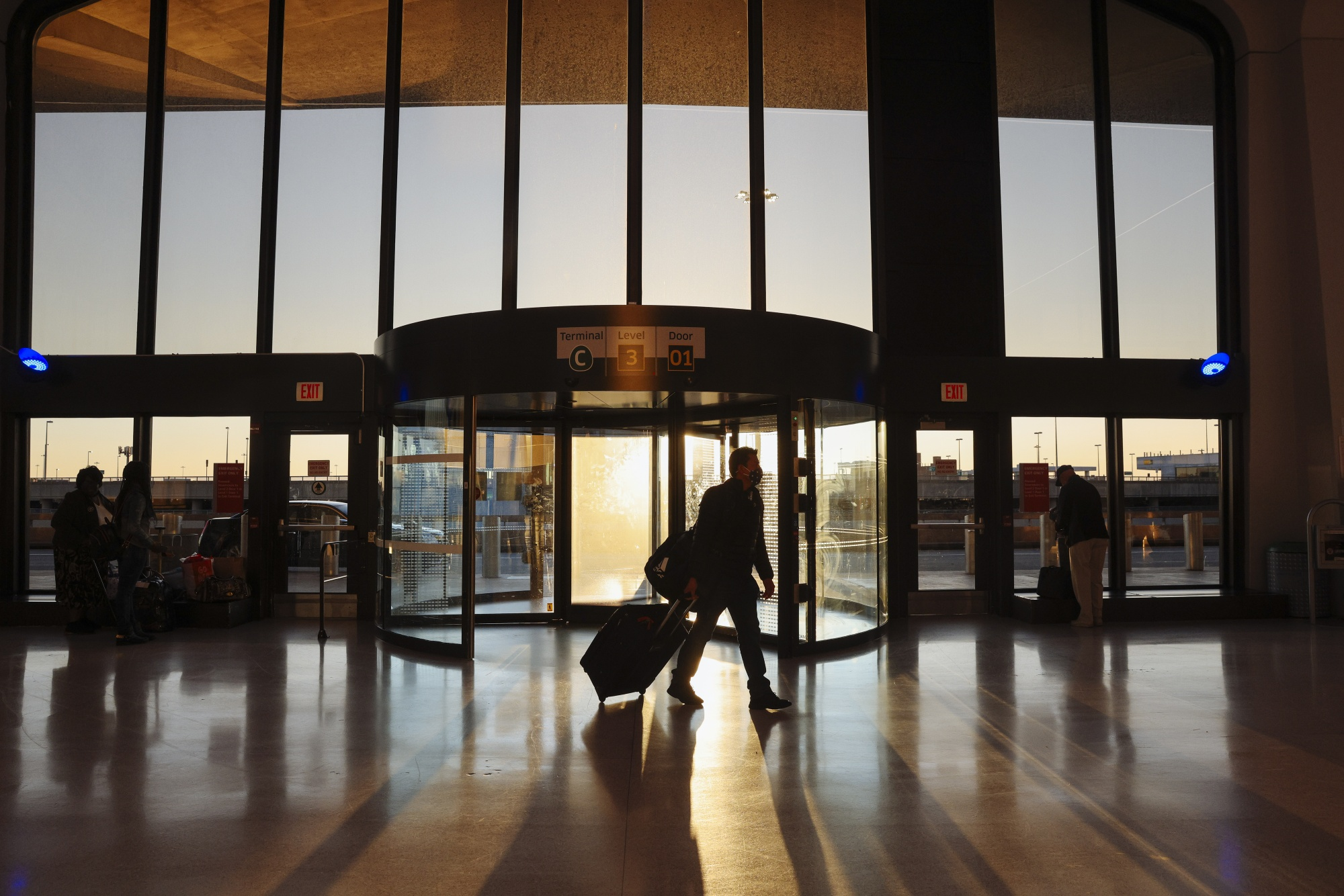 A traveler walks through Newark Liberty International Airport in New Jersey.
