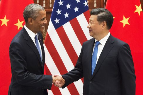 Barack Obama and Xi Jinping prior to a meeting, in Hangzhou on Sept. 3.