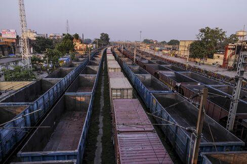 Freight trains stand at Mughalsarai Rail Junction Mughalsarai, India.