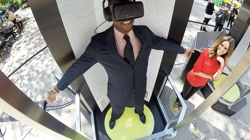 A volunteer tries out the Teleporter, created for Marriott by virtual reality specialists Framestore and Relevent.