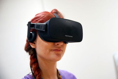 An Oculus Rift virtual-reality headset.