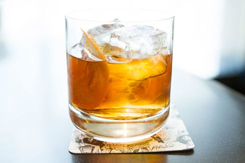 """St. Cloud's signature """"New Amsterdam"""" cocktail, a variation on the classic Negroni."""