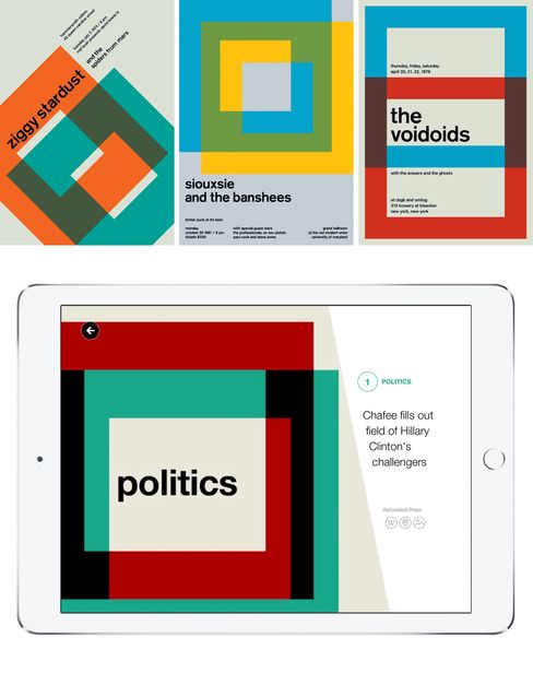 Top: Swissted designs. Bottom: Another page from the Yahoo app.