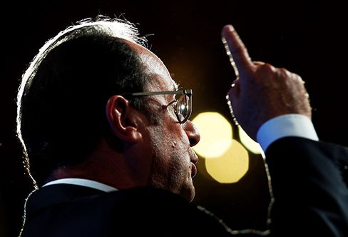 Hollande speaks on Sept. 8.