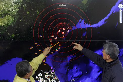 Korea Meteorological Administration members dicuss seismic waves coming from North Korea.