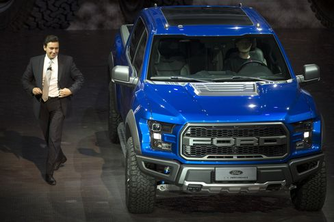 Ford CEO Mark Fields introduces the Ford F-150 Raptor in Beijing.