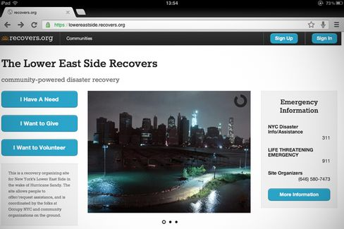 In Sandy's Wake, an Aid Website Gets a Big Test