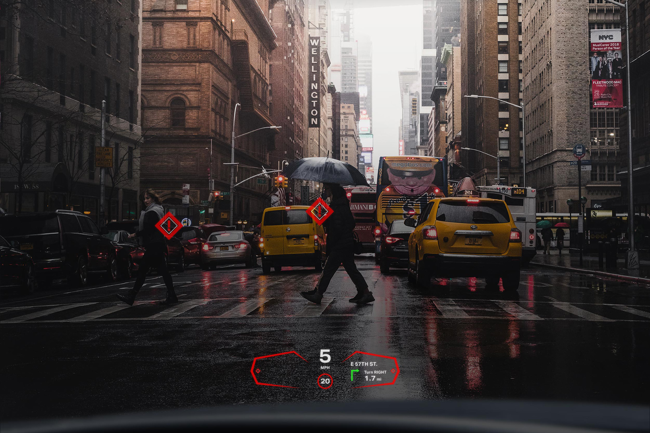 Envisics's head-up display on a vehicle windshield.