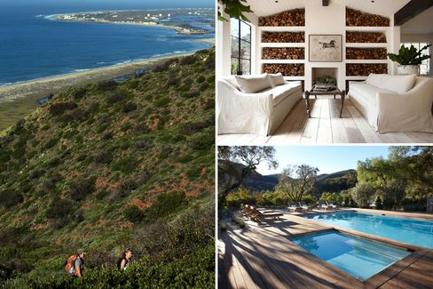 Clockwise from left: hiking in the Malibu mountains; the great room; the expansive pool.