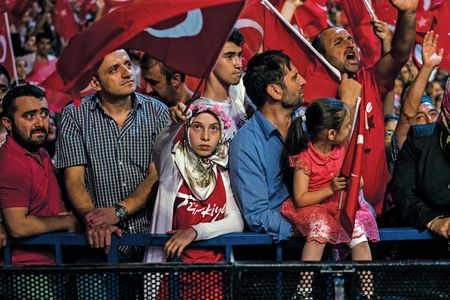 Erdogan supporters at a rally and concert sponsored by the ruling party, the AKP, on July 19.