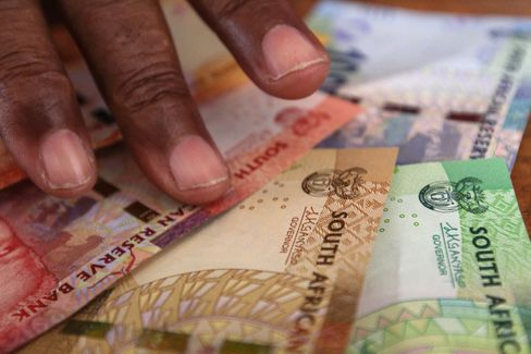 New rand banknotes sit on display on June 19, 2015.