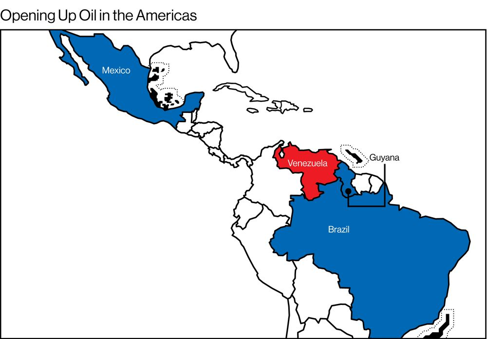 Where Is Guyana Located On The World Map.The New Latin American Oil Map Bloomberg