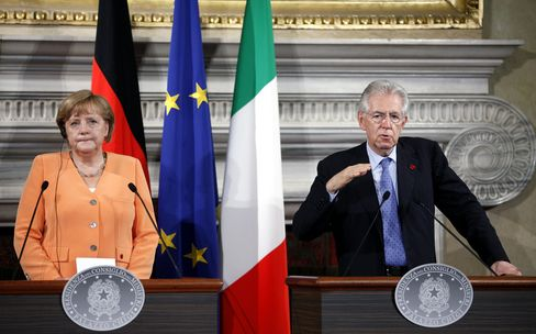 Merkel, Monti Clash on ESM Bank License in Euro Crisis Talks