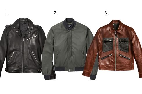 (1) Biker Jacket with leather collar, $1,095, thekooples.us; (2) Leather bomber, Brioni, $7,895, mrporter.com; (3) Leather roadster, Coach, $1,500, coach.com