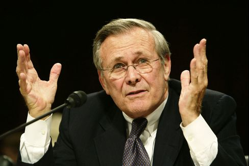 U.S. Secretary of Defense Donald Rumsfeld speaks during a hearing of the National Commission on Terrorist Attacks Upon the United States, in Washington, DC, March 23, 2004.