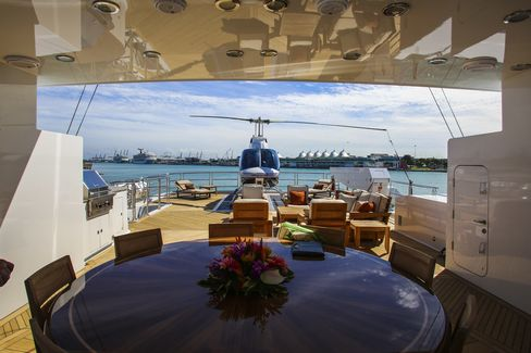 Aboard Skyfall, whichcan be chartered for $250,000 a week. Helicopter not included.