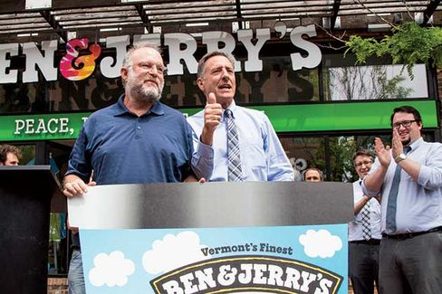 Co-founder Jerry Greenfield (left) with Governor Shumlin