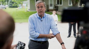 Republican presidential candidate Jeb Bush speaks to the media following a campaign stop in Washington, Iowa, on June 17, 2015.