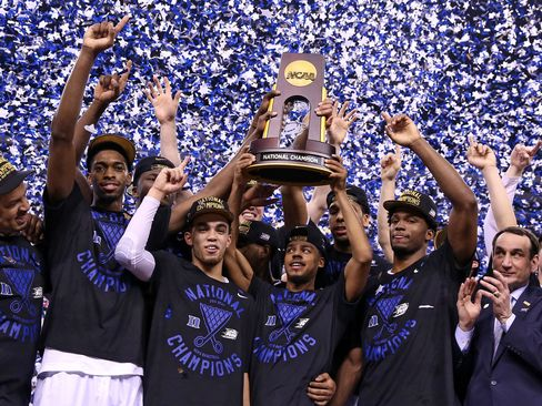 Duke Blue Devils celebrate winning the NCAA Men's Final Four National Championship at Lucas Oil Stadium in Indianapolis on April 6, 2015.