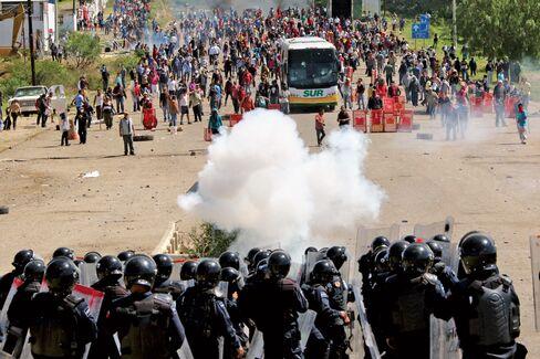 Protesters in Oaxaca on June 19.