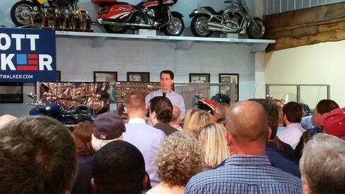 Wisconsin Governor Scott Walker at a Harley dealership in North Charleston,South Carolina.