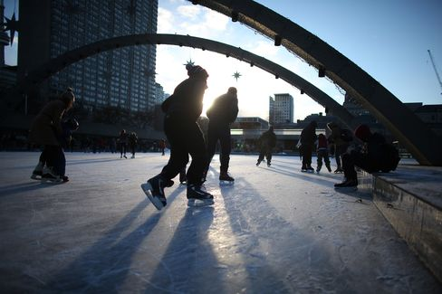 Nathan Phillips Square is now open for skating, as are all the city's outdoor rinks.