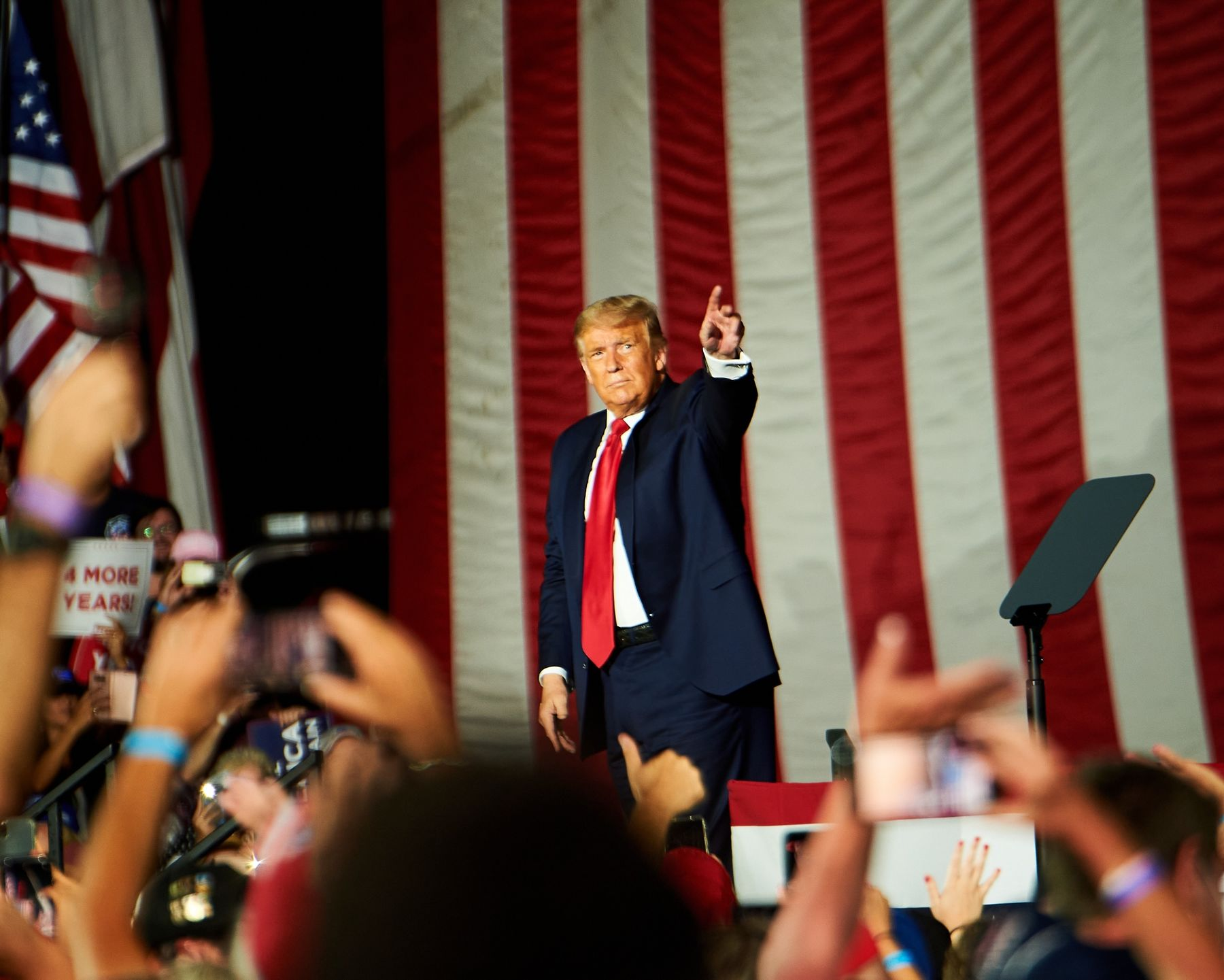 Trump during a rally in Sanford, Florida. on Oct. 12. Trump is now placing his final bet on just four battleground states: Michigan, Minnesota, Ohio and Pennsylvania.