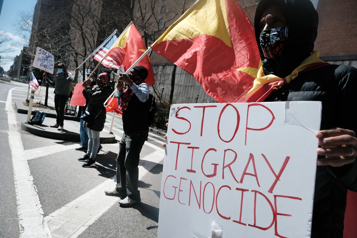 Tigray protesters gather outside of the United Nationsin New York.