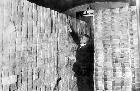 A bank basement full of banknotes at the time of the mark devaluation in Germany in the 1920s.
