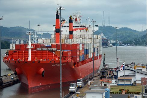A Ship Passes through A Lock in Panama Canal